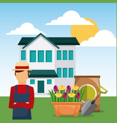 man gardener in garden house with shovel and sack vector image