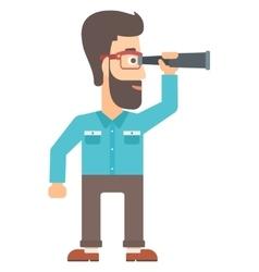 Man looking through spyglass vector
