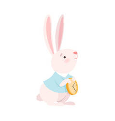march hare character holding clock vector image