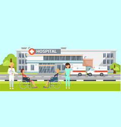 Medical help in hospital flat vector
