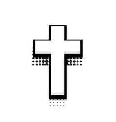 Modern halftone cross icon on white vector