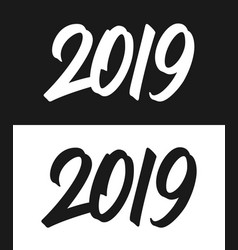 new year 2019 greeting card in black and white vector image