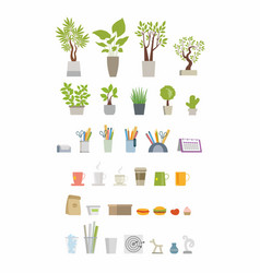 Office essentials - modern flat icons set vector