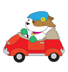 Puppy car vector