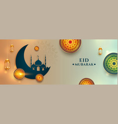 Realistic eid mubarak wishes banner with arabic vector