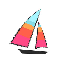 sailboat closeup isolated colorful icon on white vector image