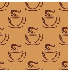 Seamless pattern of cups of steaming coffee vector image