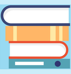 set colored books in cartoon style horizontal vector image