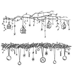 Set of christmas and new year decorations vector