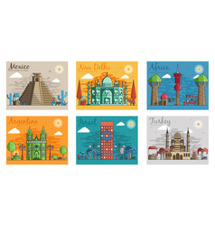 Set of different cities for travel destinations vector