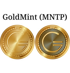 Set of physical golden coin goldmint mntp vector