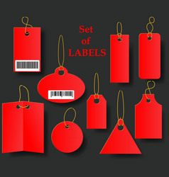 Set of red tags with golden rope collection of vector