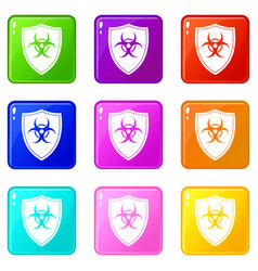 Shield with a biohazard sign icons 9 set vector
