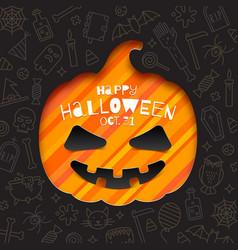 silhouette a pumpkin cutout in paper vector image