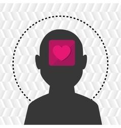 silhouette heart emoticon icon vector image