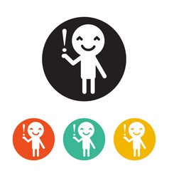 smiling human hold the attention sign vector image