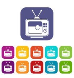 Soccer match on tv icons set flat vector