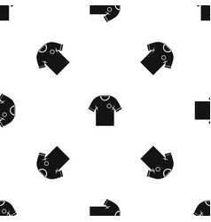 soccer shirt pattern seamless black vector image
