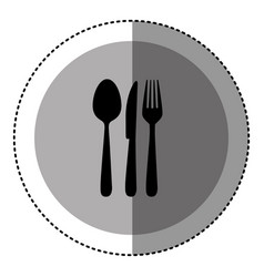 Sticker monochrome circular emblem with cutlery vector