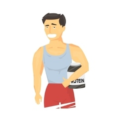 Strong sportsman holding sports nutrition vector