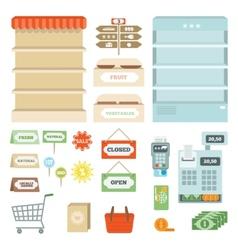 supermarket elements set vector image