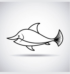 Tender cute dolphin card icon vector