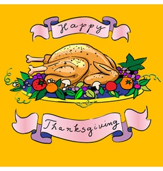 thanksgiving turkey sketch vector image