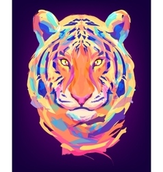 The cute colored tiger head vector