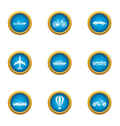 Transport for movement icons set flat style vector