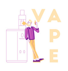vaping activity concept young male character vector image