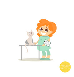 veterinary doctor inspects the cat vector image