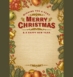 vintage merry christmas card with copy space vector image