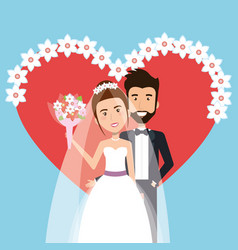 wedding ceremony bride and groom together with vector image