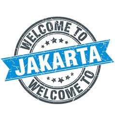Welcome to Jakarta blue round vintage stamp vector