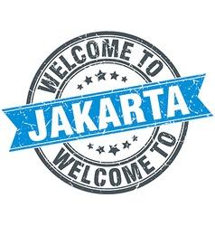 Welcome to jakarta blue round vintage stamp vector