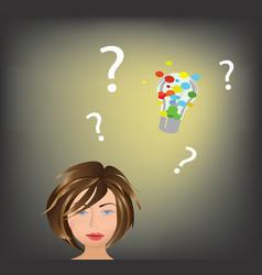 woman has an idea vector image