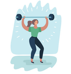 Woman with barbell fit girl vector