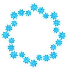 Wreath of light blue snowflakes on a white vector