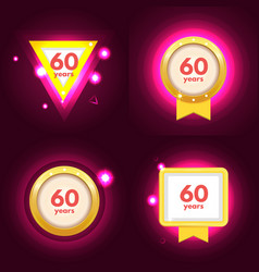 anniversary 60 icons set vector image vector image
