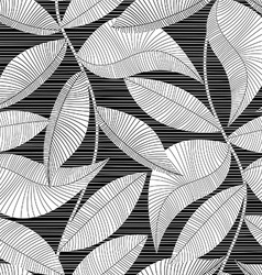 Black and white striped texture tropical seamless vector image