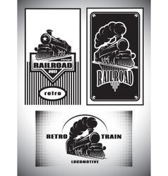 Business card template set vintage steam train vector