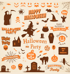 set of halloween labels and elements vector image vector image