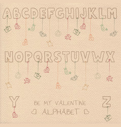 valentine font vector image vector image