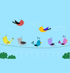 colorful birds on wires vector image vector image