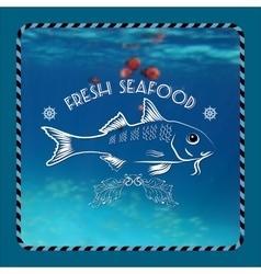Fish silhouette nautical accessory vector image vector image