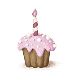 Hand drawn pink celebration muffin vector