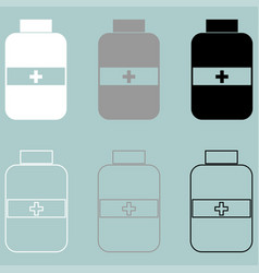 jar with pill white grey black icon vector image