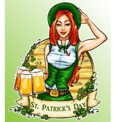 St Patricks Day label with pretty Irish Girl vector image vector image