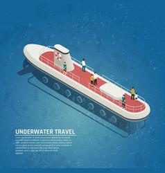 Submarine underwater travel isometric composition vector