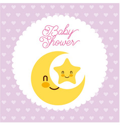 baby shower card greeting invitation star moon vector image
